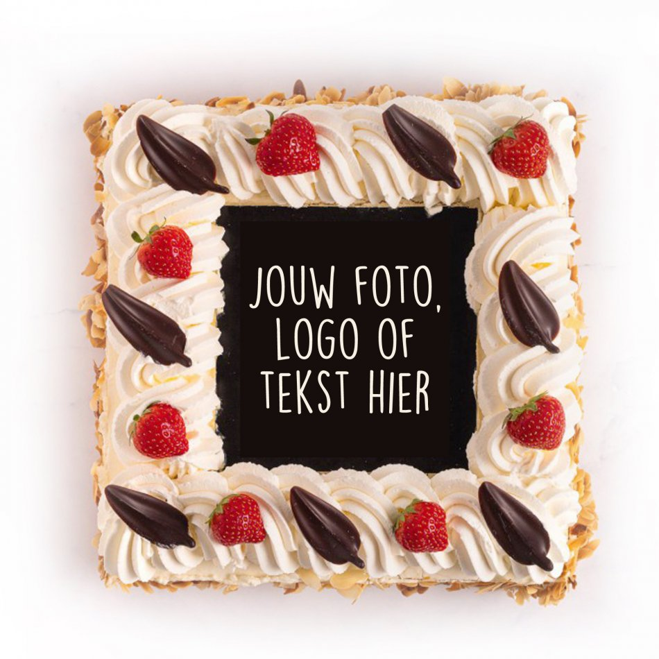 Luxe Slagroomtaart met foto/logo